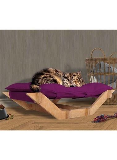 Woodesk Dost Masif Ahşap Mor Renk Kedi ve Köpek Yatağı Renkli